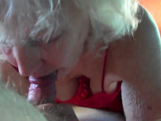 Horny Grandma Giving an amazing Blowjob