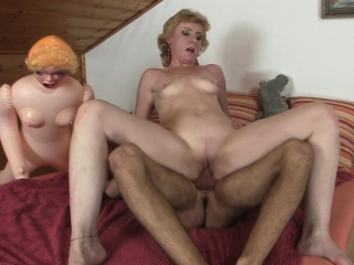 Blonde mother in law catches him jerking
