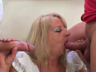 Two guys bang boozed blonde granny