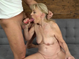 Old women cum sprayed