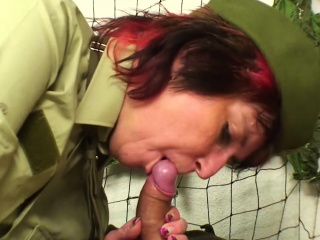 Military grandma fucks him in the barracks