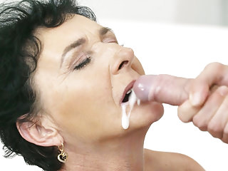 Granny maid takes a facial cumshot