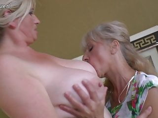 Four old and young lesbians having special party