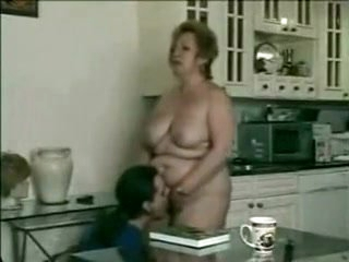 Amazing amateur Grannies, Kitchen adult scene