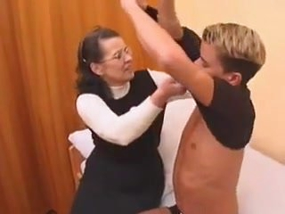 Hairy granny in stockings fucked