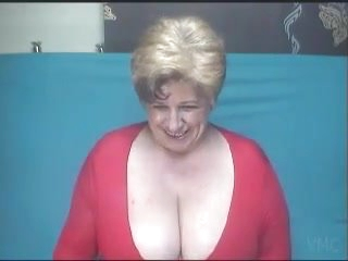 Big titted fat granny poses nude on webcam
