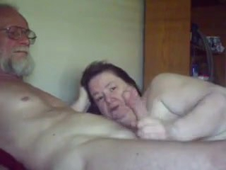Old gal sucks plays with Old guy