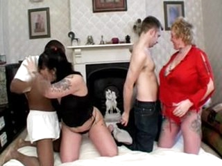 Mature whores dicked together by young men