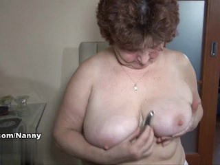 Fat and slutty granny Hana plays with her hairy snatch